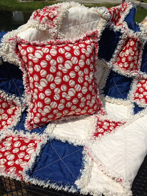 Homemade Baseball Rag Quilt with Pillow. Baby or Toddler Quilt. Lap Throw. Baby Boy Gift. Homemade Boy Blanket. Free Shipping.