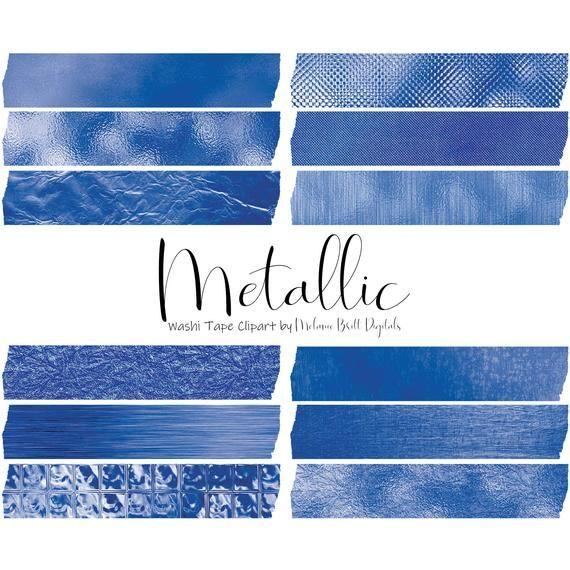 12 Blue Metallic Digital Washi Tape Cliparts Clip Art Set Featuring Metallic Foil Textures Including Meta Banner Para Imprimir Gratis Fondos De Portada Fotos