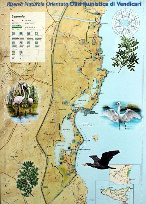 Vendicari nature reserve - map
