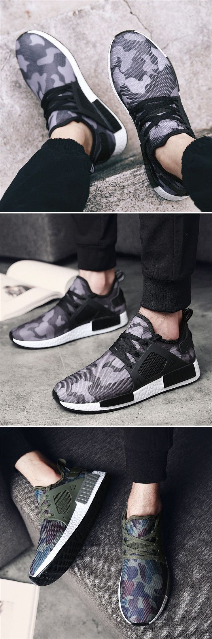 Men Camouflage Mesh Breathable Outdoor Running Shoes Athletic Casual Sneakers