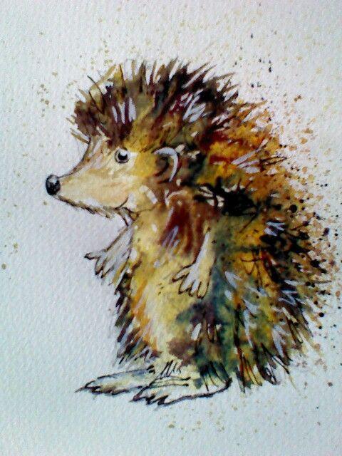 Hedgehog, watercolour painting, splatters, kids illustration, rebecca yoxall art https://www.facebook.com/RebeccaYoxallArt