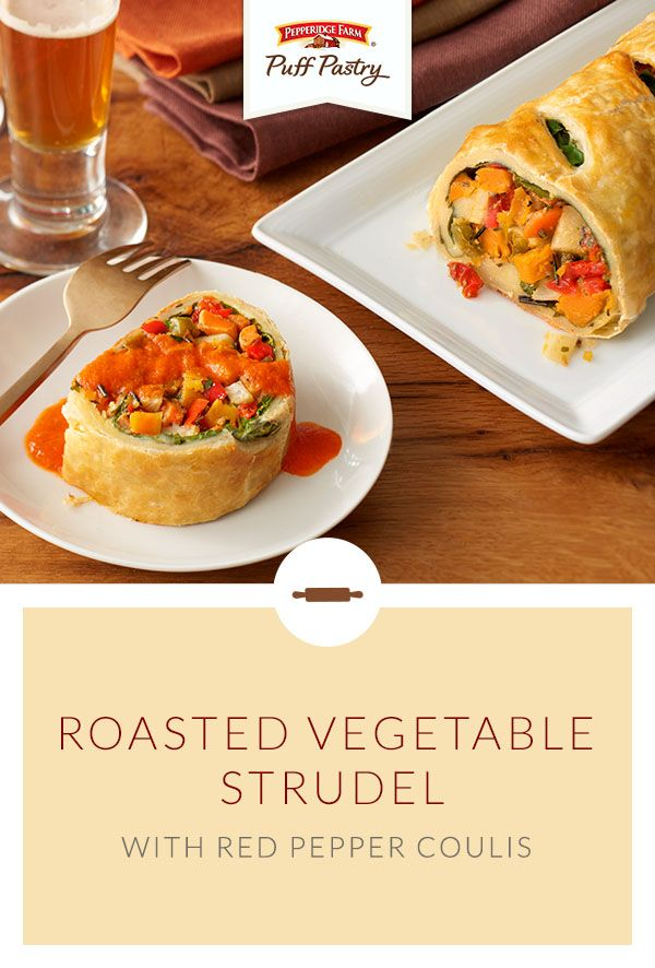 Pepperidge Farm Puff Pastry Roasted Vegetable Strudel with Red Pepper Coulis Recipe. Whether you're trying to eat more veggies or you're hosting a party and need a vegetable dish, this recipe is absolutely delicious.  This savory veggie strudel is so tasty, you won't miss the meat at all! A mixture of peppers, carrots, squash, garlic and herbs is wrapped in flaky Puff Pastry and baked until golden brown. Everyone will want a slice!