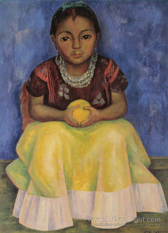 Diego Rivera: Lucha-Little-Girl-of-Techuantepec/Girl-With-Orange