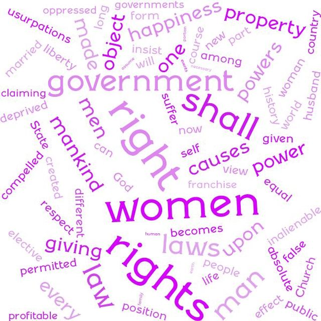 Seneca Falls Declaration: Mirrored the Declaration of Independence specifically asking for voting rights and  issues regarding marital status. It would start to eventually paved the way for the 19th Amendment.