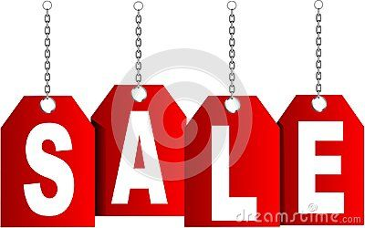 White SALE with chain and red background.