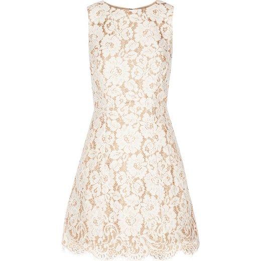 Leann cotton-blend guipure lace mini dress net-a-porter bezowy bawełna