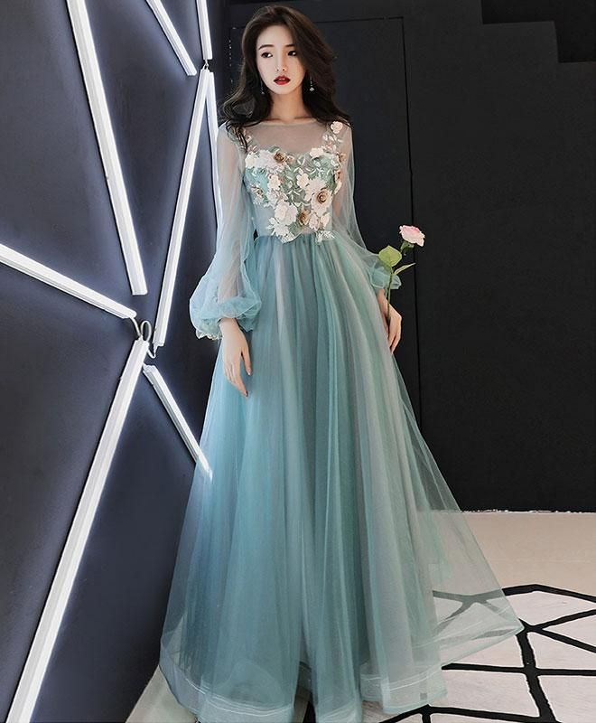 e740532c3341 Green tulle lace applique long prom dress, green evening dress in ...