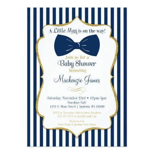 Bow Tie Boy Baby Shower Invitation Navy Blue Gold | Zazzle.com