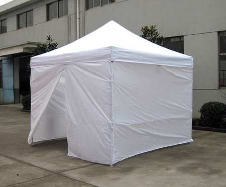 Shelters Enclosed Canopy Shelter,10 Ft 8In x 20Ft by VALUE BRAND. $289.99. Shelter, Length 20 ft., Width 10 ft. 8 In., Center Height 9 ft. 9 In., Side Height 6 ft. 8 In., White, Material 6 oz. UV Polyethylene, Frame Material Steel, Fire Rating FR5, Door Height 6 ft. 6 In., Door Width 7 ft. 6 In., Includes Frame; Roof Cover;sidewalls;bungees; Foot Plate 8 Pcs; Stake 8 Pcs.