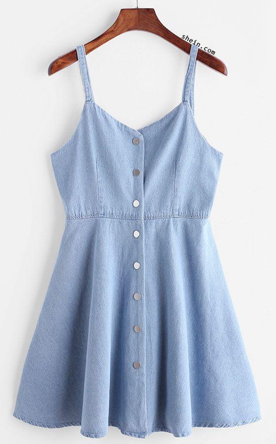 Single Breasted Slip Denim Dress