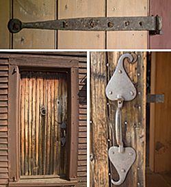 TOP: Throughout the house the doors were made with board and batten construction. Exterior doors were given two thicknesses of board, for warmth and security. The doors' iron hinges were fastened with rosehead nails using leather washers.  LEFT: The front door, dating between 1690 and 1740, was purchased from legendary antiques dealer Roger Bacon. The door has several opposing layers joined by rosehead nails in a diamond pattern, highly sought by collectors.  RIGHT: The flamboyant forged…