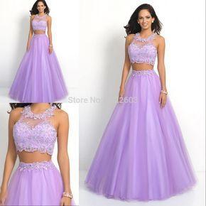 Vestido de bola 2015 de la venta caliente de la flor de cuello alto escarpada del cordón vestido de festa de dos piezas del vestido de noche púrpura de la lila formal Prom Vestidos S445