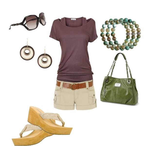 Warm Summer Days: Eggplants, Polyvore Com Outfit, Summer Outfit, Styles Fashionista, Flip Flops, Color Combinations, Olives Green, Autumn Colors, Minus Shoes