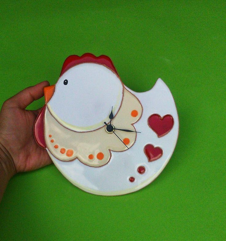 ceramica come mestiere: Nuove ed originali forme per orologi. Gufo, pesce, gallina.