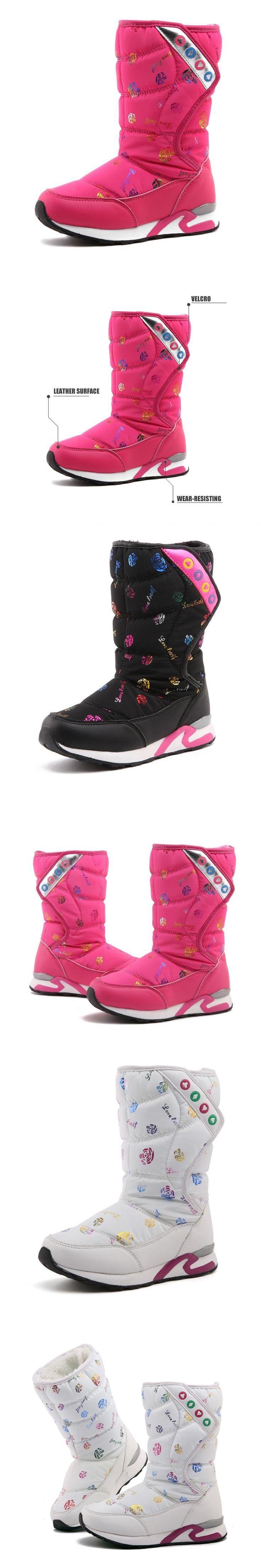 Kids snow boots high quality children boots platform winter shoes beautiful print girls boots 3 colors size 26-37