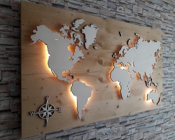 Die Weltkarte Deko Aus Holz Stern Abmessungen Breite 70 Cm