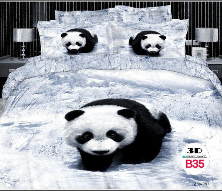 3D Print Queen Cotton Bedding Set 4 pcs. Gray/Black Panda ...
