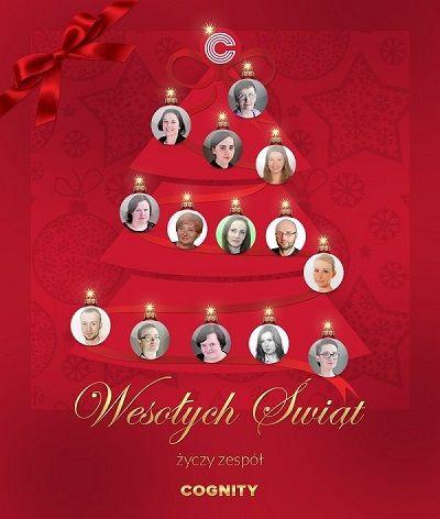 Całym zespołem Cognity pragniemy życzyć naszym Klientom, by czas Świąt Bożego Narodzenia był przepełniony atmosferą radości, wytchnienia, a także możliwością do pełnego empatii kontaktu z najbliższymi. Niech Nowy Rok przyniesie Wam wiele okazji do rozwoju osobistego oraz do wykorzystania drzemiącego w Was potencjału. My jako firma szkoleniowa bardzo Wam kibicujemy! :) Wesołych Świąt!