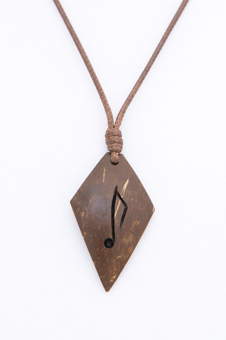"""Gift for music lovers hand carved coconut pendant""""DA BEAT""""music pendant wood carving music note brown eco natural modern gift for her - $32.00 USD"""