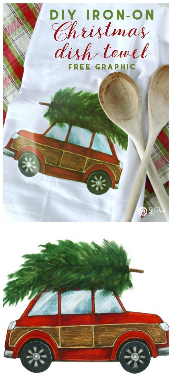 DIY Christmas Gifts | Great ideas for easy homemade holiday gift ideas | Iron-on Christmas Car printable | See it at TodaysCreativeLife.com
