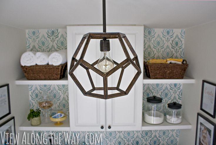 DIY geometric light made to look like an expensive Ralph Lauren light!