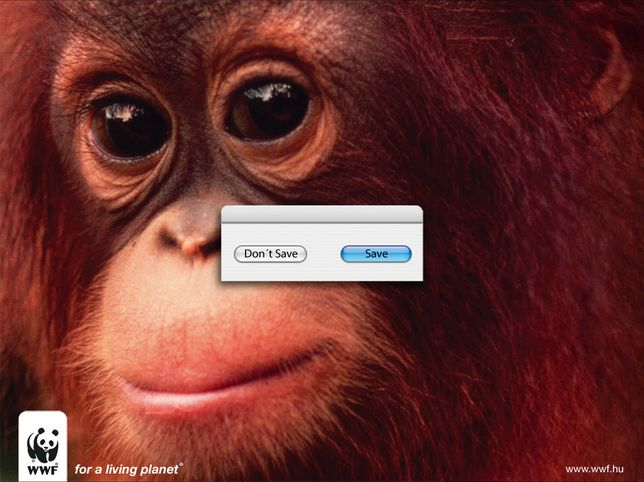 """""""SAVE for a living planet"""" for #WWF by Ogilvy & Mather. #monkey #computer #animals #endangeredspecies #goodad"""