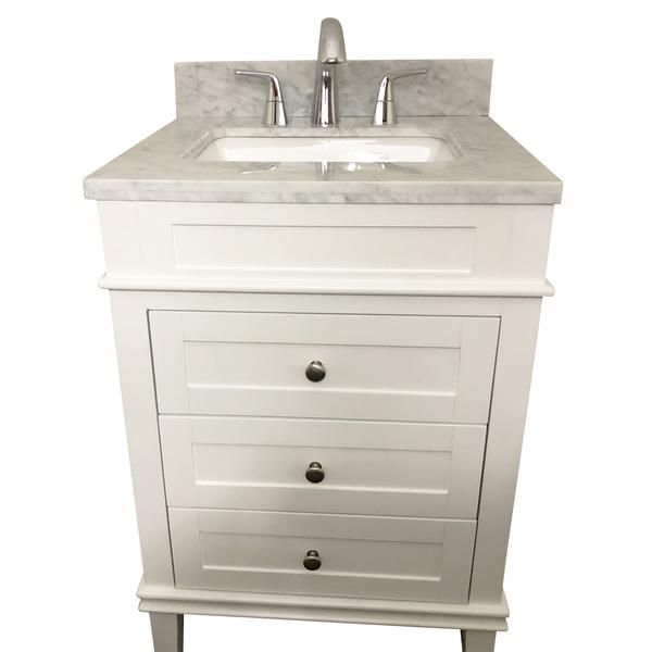 24 Inch Solid Wood White Bathroom Vanity Cabinet With 3 Drawers Natural Italian Carrara Marb Modern Bathroom Vanity Wood Bathroom Vanity Bathroom Vanity Decor