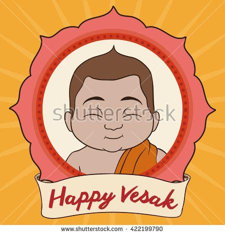 Cute Buddha portrait in lotus frame with commemorative scroll announcing Vesak festival.