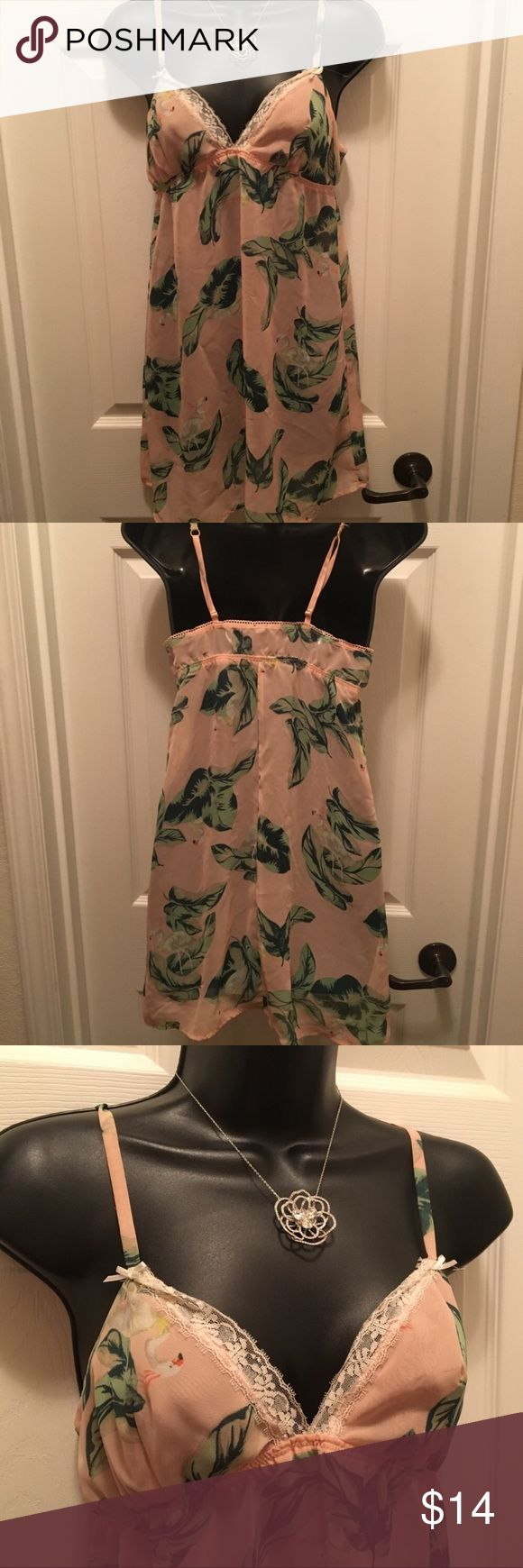 """Sz Small ❤️ White Flamingo Tropical Sheer Chemise Sz S The Webster Miami at Target Sheer Tropical Chemise. Size small. Pit to pit = 17"""". Excellent condition. Gorgeous tropical print with white flamingos. Straps are adjustable. The Webster at Target Intimates & Sleepwear Chemises & Slips"""