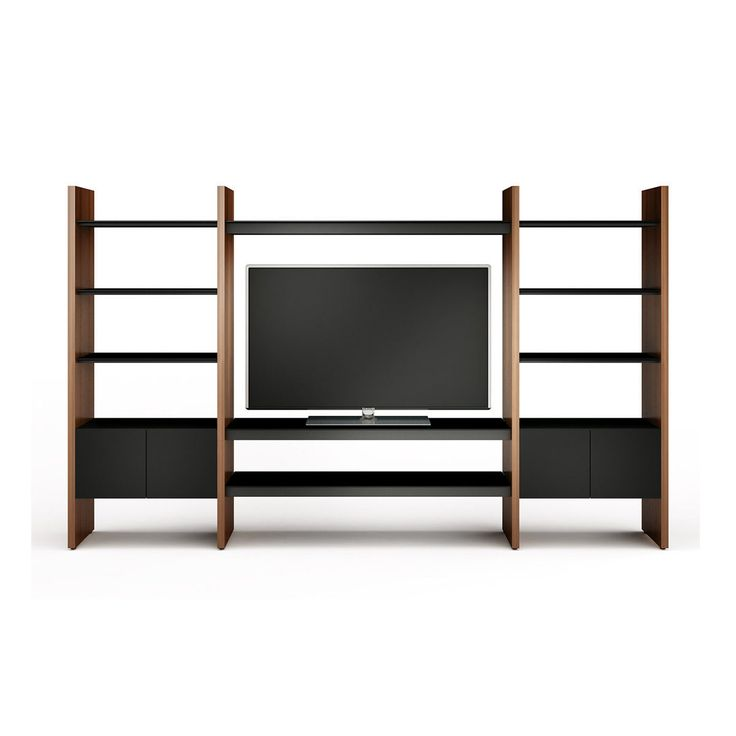 Ideal for large home theater systems, the preconfigured Semblance Modular 5423-TE Media Center features a spacious soundbar or AV component compartment, adjustable shelves, media storage and an ample platform for large flatscreen televisions.