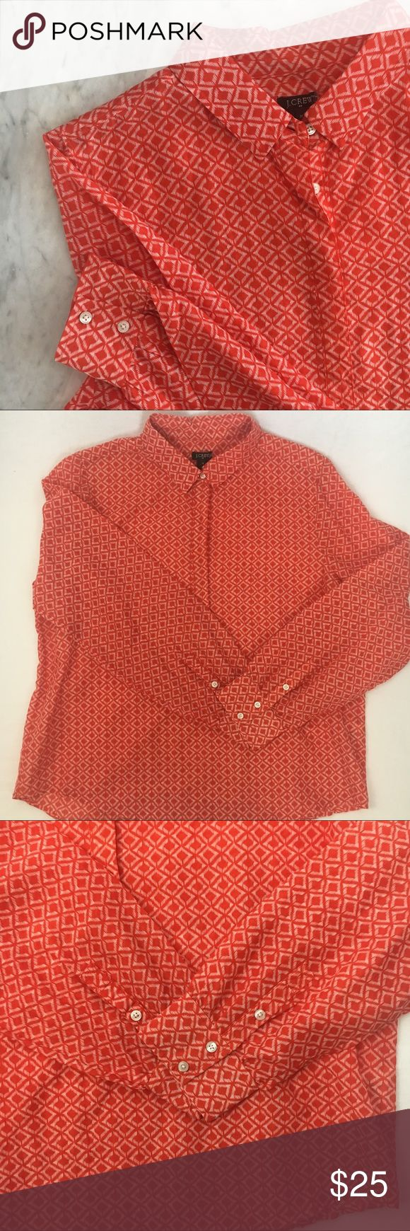 J. Crew | Lightweight Orange Long Sleeve Top This shirt from J. Crew is perfect on its own or for layering. it has hidden buttons going down the middle ending about midway. In excellent condition, no notable flaws J. Crew Tops Button Down Shirts