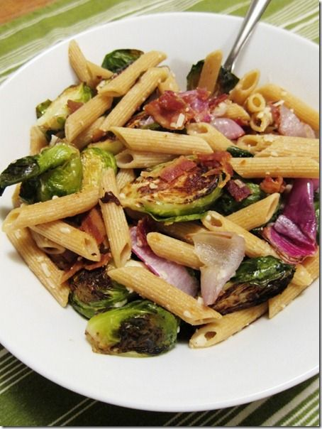 Pasta with Roasted Brussels Sprouts & Red Onions: Wheat Pasta, Red Onions, Roasted Brussels Sprouts, Delicious Recipe, Parmesan Pasta, Onions Pasta, Bacon Pasta, Brown Rice Pasta, Brussel Sprouts