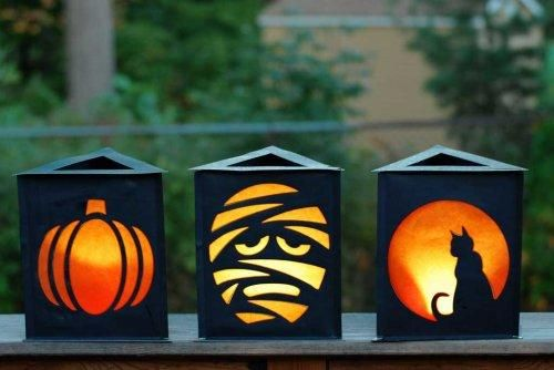 10 DIY Halloween Crafts To Decorate Your Home : DIY Triangle Halloween Paper Lantern Craft Project