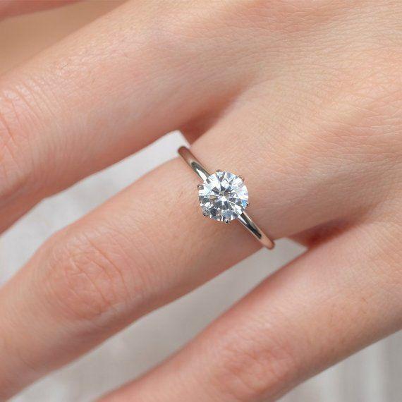 1 Ct Moissanite Ring Moissanite Engagement Ring Moissanite Etsy In 2020 Vintage Engagement Rings Unique Womens Engagement Rings Morganite Engagement Ring Rose Gold