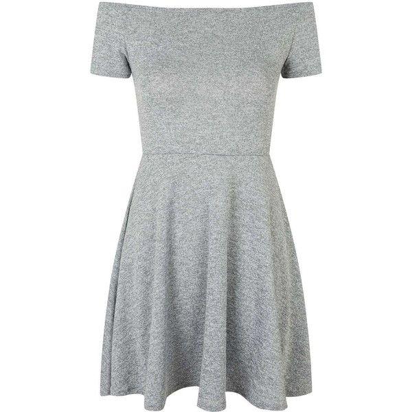 Catalina Dress by Motel found on Polyvore featuring dresses, vestidos, grey, topshop, off the shoulder skater dress, gray skater dress, short-sleeve skater dresses and grey dress