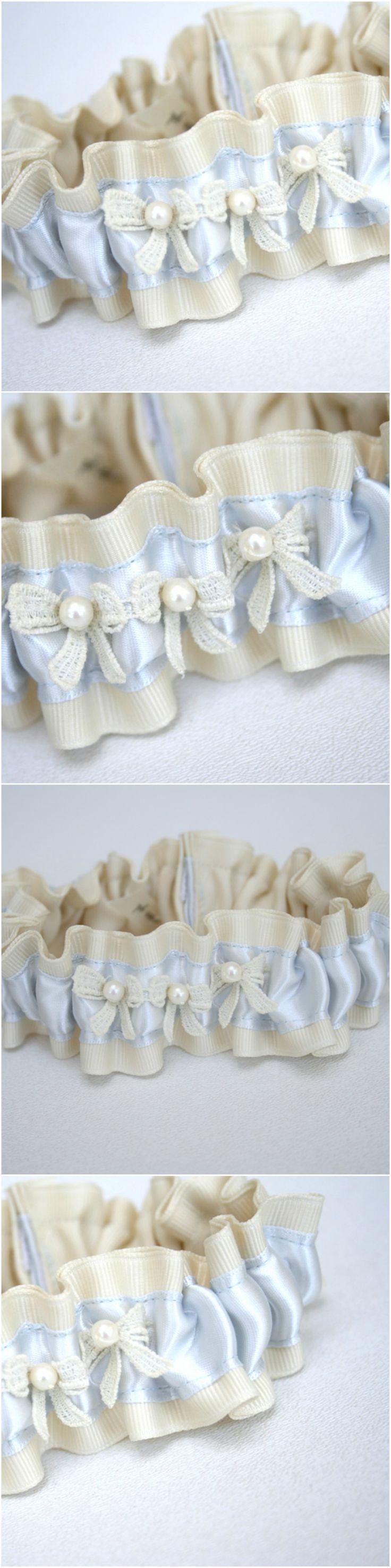 Custom Ivory Pearls with Light Blue Reused Wedding Dress Bridal Garter-by The Garter Girl