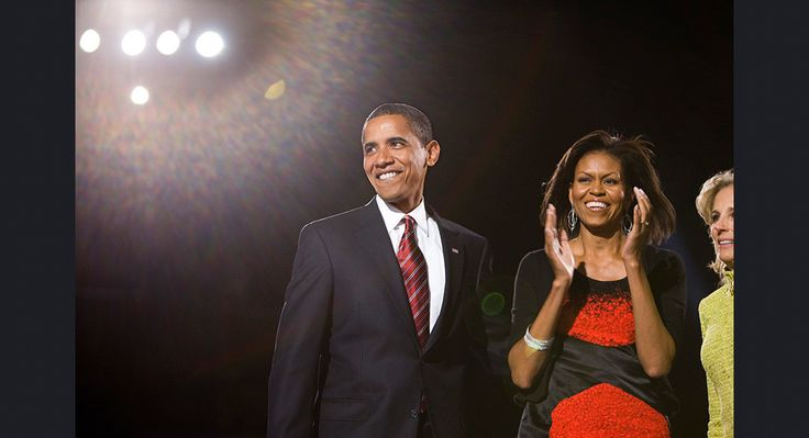Obama stands beside wife Michelle Obama at the election night rally in Chicago on Nov. 4, 2008.