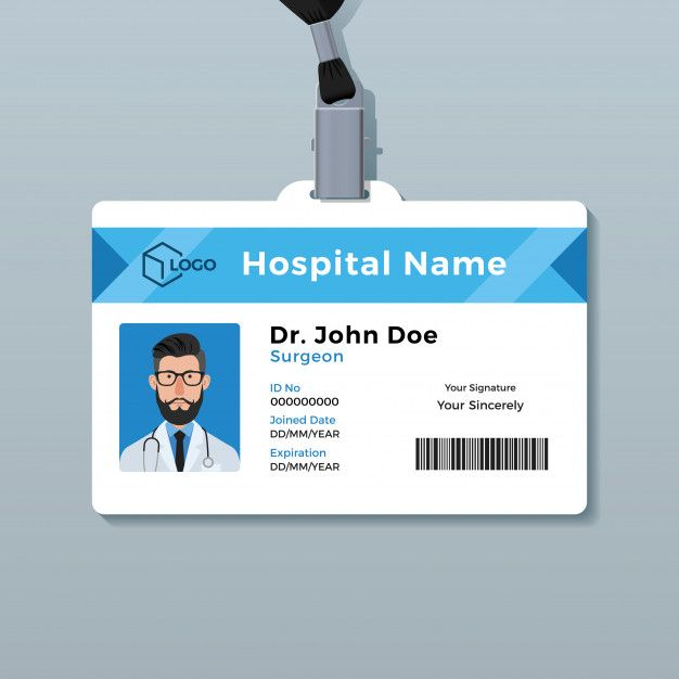 Doctor Id Card Template Id Card Template Doctor Business Cards Identity Card Design