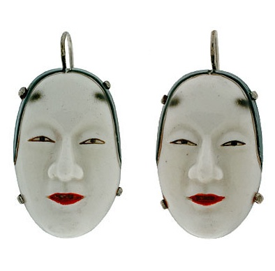 porcelain art deco earrings