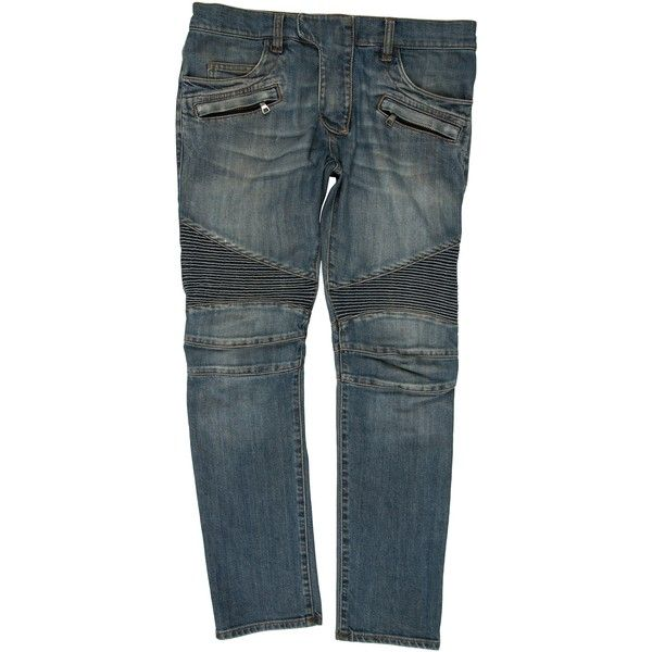 Pre-owned Balmain Cropped Moto Jeans ($525) ❤ liked on Polyvore featuring men's fashion, men's clothing, men's jeans, blue, mens flap pocket jeans, mens blue jeans, mens jeans, mens zipper jeans and balmain men's jeans
