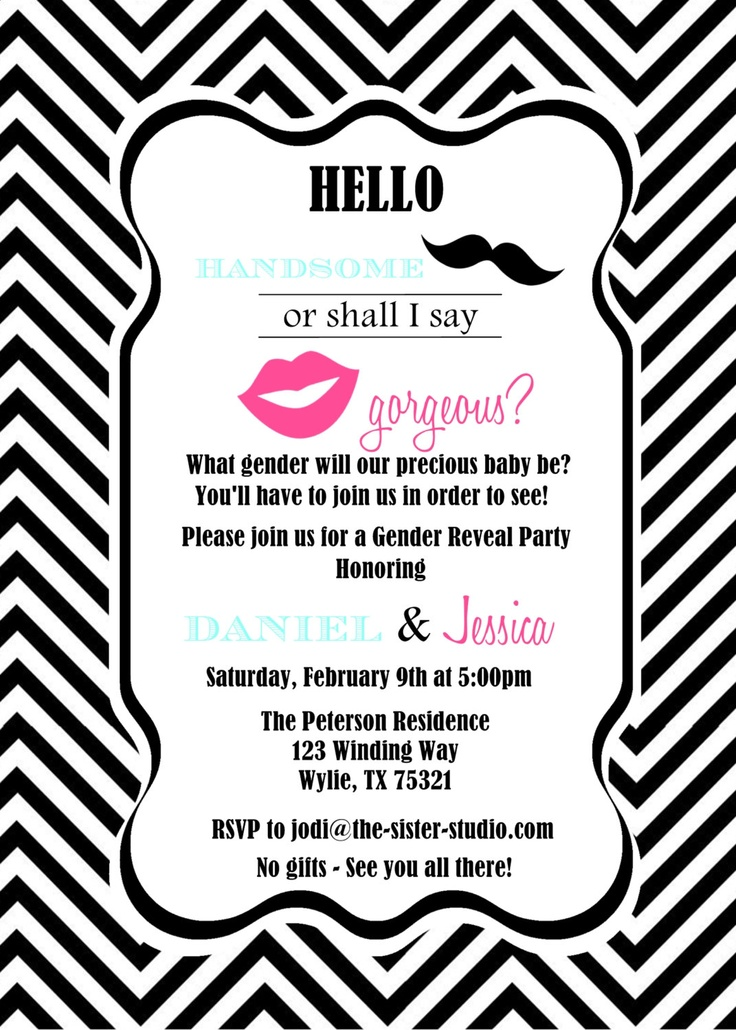 Mustache Invite with adorable invitation example