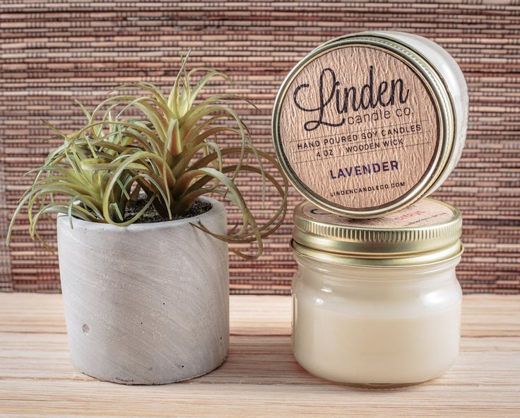 LAVENDER scented candle // 4oz mason jar soy candle// Hand Poured and Handmade in California. All Natural, Eco Friendly,Luxury candle by LindenCandleCompany on Etsy