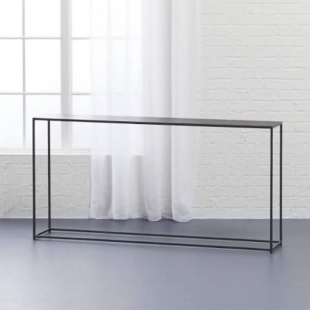 "$299.00 Mill console table narrow depth - Google Search $299.00 from CB2 Width: 56"" Depth: 10"" Height: 28"""