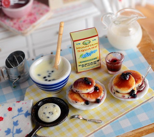 Miniature Making Blueberry Pancakes Set by CuteinMiniature on Etsy