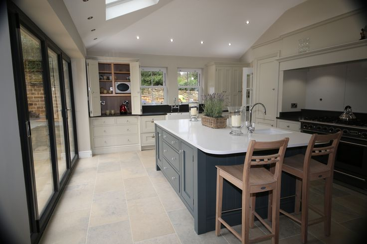 Fabulous kitchen by Aberford Interiors with Farrow and Ball Downpipe island