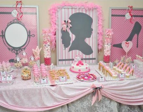 cumpleaños rosa mesa