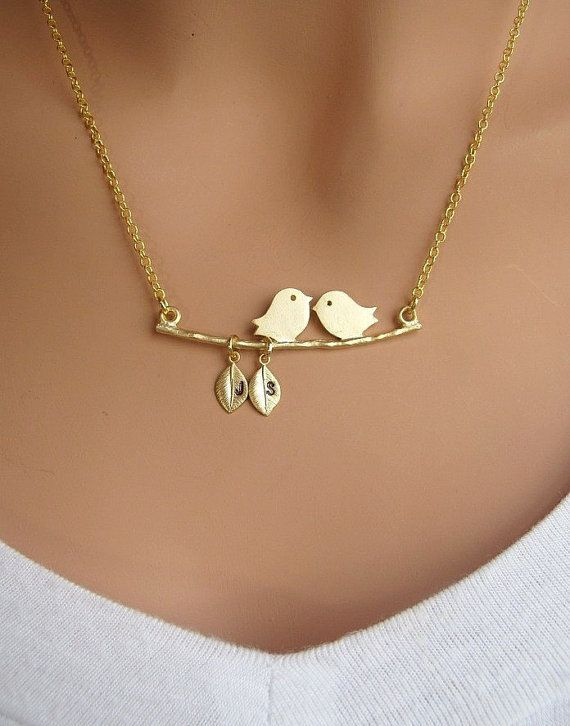 Two Love Birds with two Initial letter on the leaf Personalized GOLD necklace via Etsy