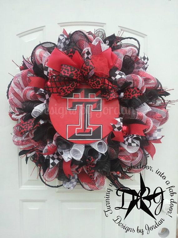 Deco Mesh Texas Tech Wreath Made To Order by DesignsbyJordanTX, $135.00