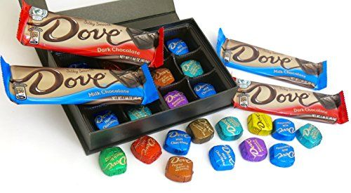 Valentines Chocolate Gift Chocolate Colored Fancy Magnetic Book Style Box Filled with Assortment of Dove Promises and 8 Dove Bars * Clicking on the image will lead you to find similar product