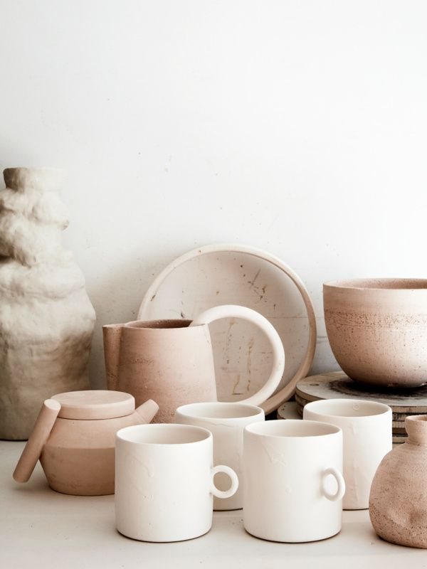 Colour palette ideas and inspiration for art and design projects. Natural coloured ceramics. Creamy whites and sandy pink.